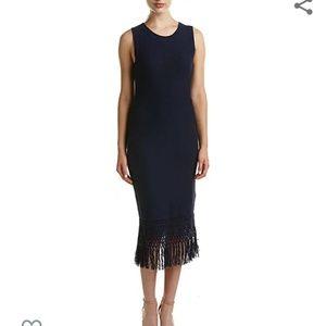 LAUNDRY BY SHELLI SEGAL SWEATER DRESS W/ FRINGE S